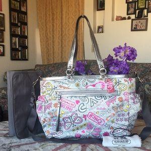Rare coach Poppy Butterfly Graffiti Diaper Bag